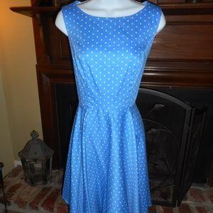 NWOT Light blue polka dot vintage style dress, M